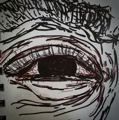 Wrinkly red eye, quick sketch,  sharpie pen and red ink, old men.