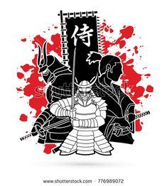 3 Samurai composition with flag Japanese font mean Samurai designed on splatter blood background graphic vector