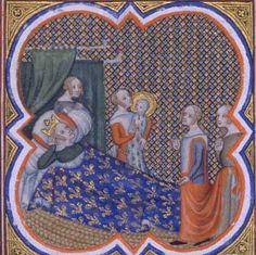 Enluminure représentant la naissance de Saint Louis. Blanche de Castille est alitée, entourée de trois femmes de chambre, dont l'une porte le nouveau-né auréolé.