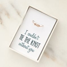 Knot Ring - Perfect bridesmaid gift, or bridesmaid proposal idea!   handmade by Foxblossom Co.