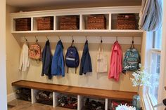 Mud room: storage above for out of season & storage below for sports & things currently using.