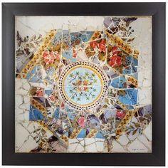 "East Urban Home Gaudi Mosaic Center Circle I Framed Photographic Print Size: 11"" H x 11"" W x 1"" D"