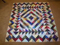 Half Square Triangle Quilt Kit Wall Hanging by on Etsy - good for scraps Lap Quilts, Strip Quilts, Scrappy Quilts, Small Quilts, Batik Quilts, Mini Quilts, Half Square Triangle Quilts Pattern, Half Square Triangles, Square Quilt