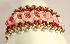 Only available at KaterinaCollection on Etsy. Glass cuff bracelet, Millefiore glass bracelet, white red jewelry, handwoven bracelet,OOAK Valentines gift for women,handmade unique jewelry