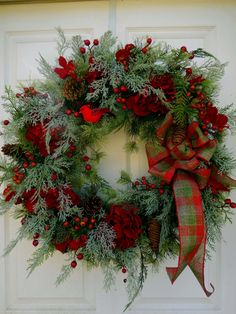 Christmas Wreath Holiday Wreath Winter Wreath by Hanging Christmas Lights, Christmas Door Wreaths, Christmas Door Decorations, Decorating With Christmas Lights, Christmas Flowers, Holiday Wreaths, Christmas Centerpieces, Christmas Holidays, Christmas Crafts