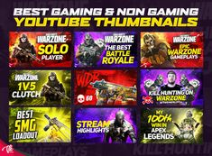 we provide awesome eye - catching gaming thumbnails for your youtube channel 99% Youtube Viewers watch your stream or videos just because of eye-catching thumbnails! so we do the same thing to get your channel more viewers! Reasons to order :- Unique designs Best Eye-Catching Thumbnails 100% trusted seller Satisfaction Guaranteed We Provide thumbnails for every games! Free Thumbnail Maker, Thumbnail Design, Youtube Banner Backgrounds, Youtube Banners, Background Templates, Background Images