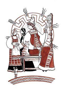 Goddess Makosh (Mokosz / Perperuna? małżonka Peruna nazywana również Dodolą??), Dola i Niedola in heavenly hall