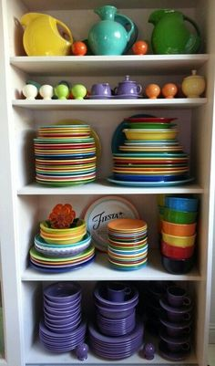 Fiesta ware collection- loving all the purple plates, bowls, and cups