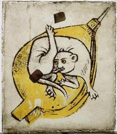 Réunion des Musées Nationaux-Grand Palais - Musée d'Ecouen, vitraux- Animal fantastique allongé sur un soufflé. Ec. 125g. Jaune d'argent. Ht: 0,14. L: 0,12 m.
