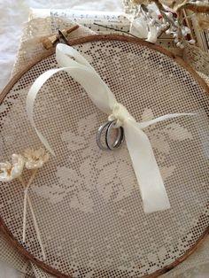 Vintage Wedding Ring Bearer Pillow Filet Lace Wax Flowers Aged Wood Hoop Unique | eBay