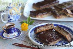 """Dica perfeita p o #lanche, é esta delicia """"barrinha"""" de Bolo Funcional de Banana c Chocolate! http://www.gulosoesaudavel.com.br/2014/05/23/bolo-funcional-de-banana-com-chocolate/…"""