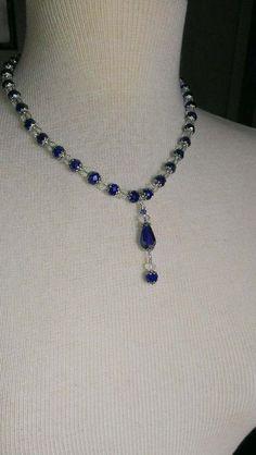 Necklace Sapphire Necklace Swarovski Sapphire by DonnaJJewelry