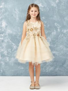 42f3aa5eb30 This Champagne flower girl dress is so sweet! Gold Flower Girl Dresses