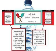 Bridal Shower Kitchen Theme Water Bottle Label / A great kitchen theme water bottle label