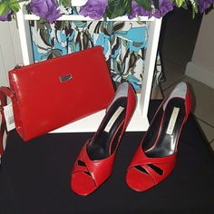 """??? NEW Red Leather Upper Toe Stilettos & Handbag ●●●  Accepting only fear offer. Thiz is amazing brand new Red Solid Leather Upper Open Toe  Shoes. Including Red Handbag Leather D. Collection. (Clutch Purse) Handbag height 7"""" Depth 3"""" and Bag length 10. Adjustable soulder strap top with opening wit one side zippered opening.  Great pair of Red sexy shoes for spring, work or summer. Shoes  Height heels  3.5  Width: Medium (B),  Brand:  Marip?. Refer to pictures carefully. All purchase are…"""