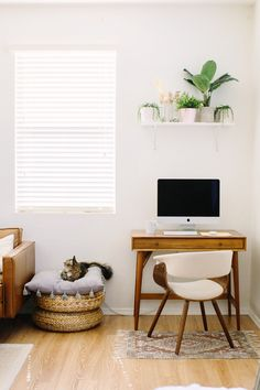 simple white and wood living room office corner with minimalist wood desk and floating shelf above Home Desk, Home Office Space, Home Office Design, Home Office Decor, Office Furniture, Gothic Furniture, Desk Office, Office Chairs, Desk In Living Room
