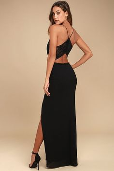 Unforgettable evenings start with the Story of a Starry Night Black Backless Lace Maxi Dress! Sleek woven poly forms a darted, triangle bodice and figure-flaunting maxi skirt with a sultry, side-slit. Sheer, stretch lace (with hook clasp closures) joins with skinny straps atop an open back. Hidden back zipper.
