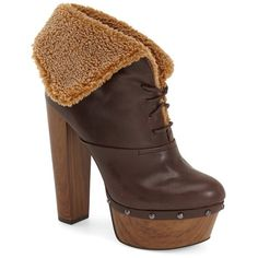 """Jessica Simpson 'Daane' Foldover Cuff Bootie, 5 1/4"""" heel ($139) ❤ liked on Polyvore featuring shoes, boots, ankle booties, ankle boots, hot chocolate faux leather, platform boots, lace up bootie, high heel ankle boots, jessica simpson boots and short boots"""