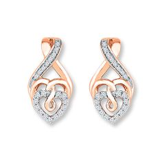 Diamond Heart Necklace 1/5 ct tw Round-cut 10K Rose Gold