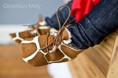 Fuzzy Giraffe Lace Up Shoes Fall/Winter by GraciousMay at Etsy - $41.00
