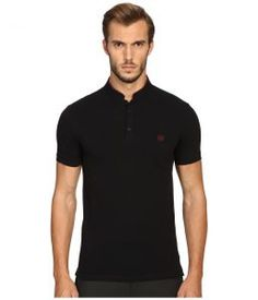 The Kooples Sport Fitted Officer Collar Polo (Black) Men's Short Sleeve Pullover