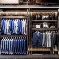 Built in wardrobe, perfect wardrobe, capsule wardrobe, store design, men cl Clothing Store Interior, Clothing Store Displays, Clothing Store Design, Built In Wardrobe, Perfect Wardrobe, Capsule Wardrobe, Suit Stores, Visual Merchandising Displays, Store Layout