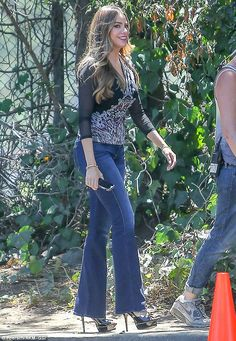 In shape:  Vergara, who plays Gloria Delgado-Pritchett in Modern Family, wore bell-bottom jeans for filming