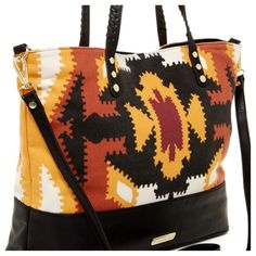 """Steve Madden Print Tote Make your outfit really pop with this bold statement tote from Steve Madden featuring a roomy interior and optional long strap. Printed wool/faux leather Double handles with 9-1/2"""" drop; removable long strap Magnetic snap closure Exterior features gold-tone hardware and small logo zipper pull Interior features 1 zip pocket and 1 slip pocket 16"""" W x 13"""" H x 5-1/2"""" D Steve Madden Bags Totes"""