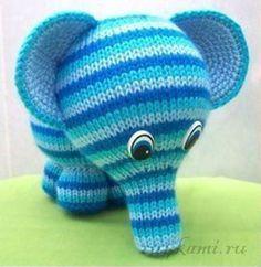 Радужный слоник, вязаные игрушки описание