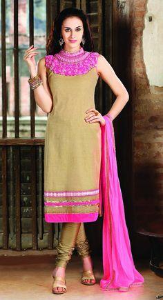 Vivacious Beige Brown & Deep Pink Salwar Kameez