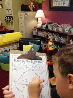Fall Literacy Unit.  Raking up the leaves sight word activity