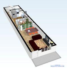 Planos de casa pequeña y moderna Narrow House Designs, Modern Small House Design, Narrow House Plans, Duplex House Plans, Tiny House Design, House Floor Plans, Home Map Design, Home Design Plans, Plans Loft
