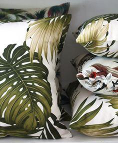 hawaiian barkcloth palm leaf cushion covers