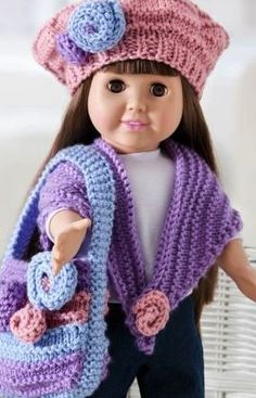 for their american girl dolls Free Knitting Doll Clothing and Accessories Patterns! @ Do It Yourself Pins