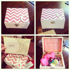 """""""Will you be my bridesmaid?"""" boxes. Filled with a ring pop, margarita mix, and heart-shaped Peeps."""