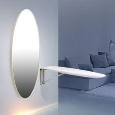 Aynalı Ütü Masası/Elips/Parlak Beyaz