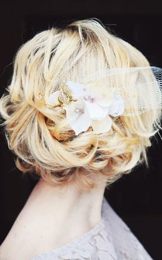 Blush Wedding Hair comb with Victorian Butterfly brooch, pearls and vintage hydrangea flowers. $188.00, via Etsy.
