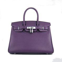 Purple Hermes 30CM Birkin Bag Clemence Leather With Silver HW Product  Model  Hermes Birkin 30CM 5362fb23fc