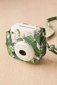 Palm Leaf Print Polaroid Camera Case Strap White