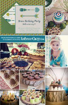 Brave Disney Party Merida Online birthday party invitations kids brave princess ideas decoration food LaBelleCarte Online Invitations: www.LaBelleCarte.com/en
