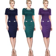 Womens Formal Office Business Dress Wear To Work Slim Party Bodycon Pencil Dress