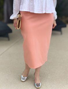 Peach Modest Pencil Skirt Shop at www.shannasthreads.com #shannasthreads  #pencilskirt #modestclothing #apostolicfashion
