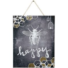 Graham & Brown Canvas Bee Happy Wall Art ($65) ❤ liked on Polyvore featuring home, home decor, wall art, graham & brown, typography wall art, quote wall art, word canvas wall art y canvas home decor
