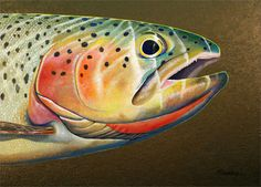 one of the most beautiful fish ever. Watercolor Images, Watercolor Animals, Fly Fishing Gifts, Intarsia Wood, Composition Art, Fishing Pictures, Coastal Wall Art, Beautiful Fish, Panel Art