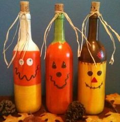 Creative Ways To Use Wine Bottles As Halloween DecorBe creative and decorate your house or porch with some scary decorations made from bottle wines. Not to mention they are pretty funny-spooky Halloween accessories. Cork Crafts, Fall Crafts, Halloween Crafts, Holiday Crafts, Holiday Fun, Empty Wine Bottles, Wine Bottle Art, Painted Wine Bottles, Recycle Bottles