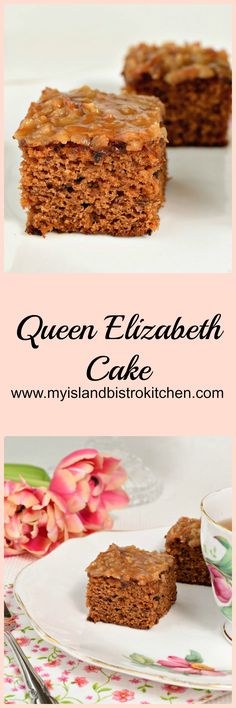 This moist, flavorful cake, known as the Queen Elizabeth Cake (or Square), is made with dates and spices and features a delectable toffee-like topping