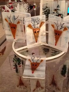 Santa's Reindeer Mosaic Fused Glass Ornament by Marusca on Etsy, $15.00