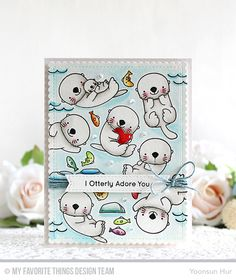 Otterly Love You Stamp Set and Die-namics, Stitched Sentiment Strips Die-namics, Blueprints 27 Die-namics - Yoonsun Hur  #mftstamps