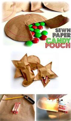 Sewn paper candy pouch DIY craft fun holidays Christmas or for any occasion Holiday Fun, Holiday Crafts, Holiday Candy, Paper Candy, Little Presents, Navidad Diy, Ideias Diy, Noel Christmas, Xmas