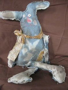Its just Frankly Kute: Recycled Denim into a 20 inch Rabbit